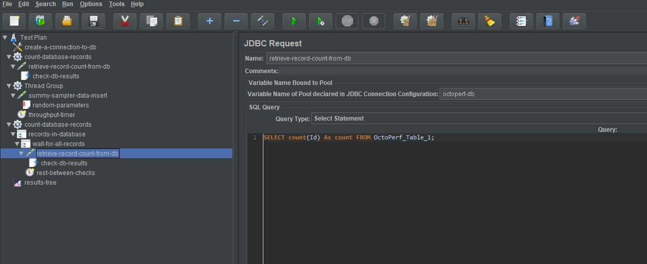 main jdbc request sampler