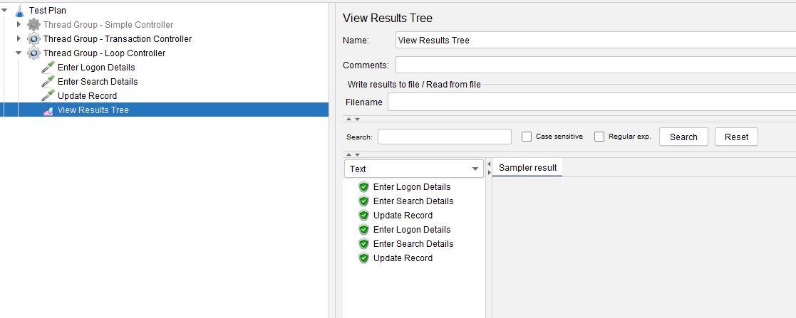 JMeter Loop Controller View Results Tree