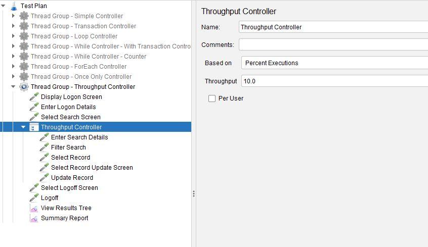JMeter Throughput Controller