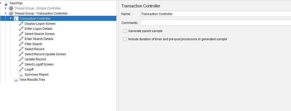 JMeter Transaction Controller Test Plan