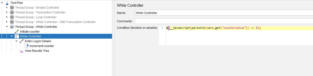 JMeter While Controller