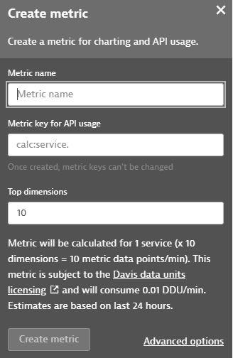 Create metrics dialog