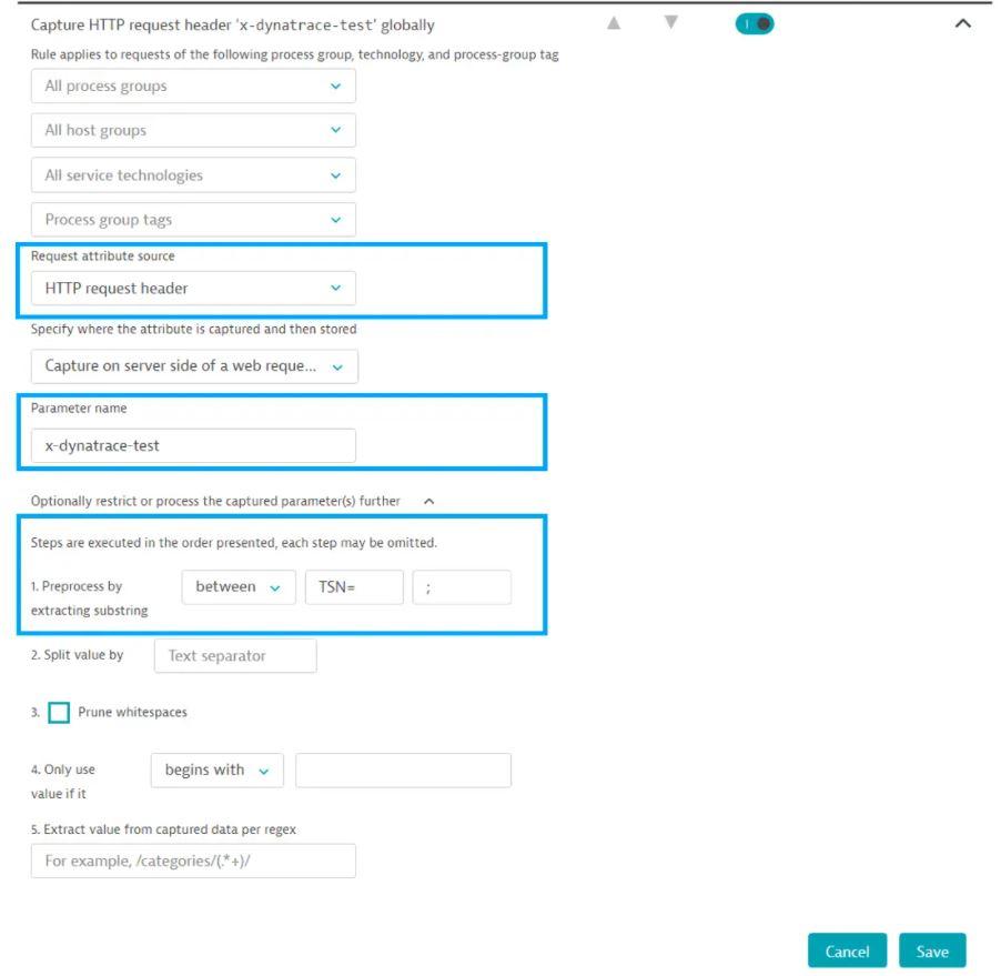 Dynatrace create request attributes