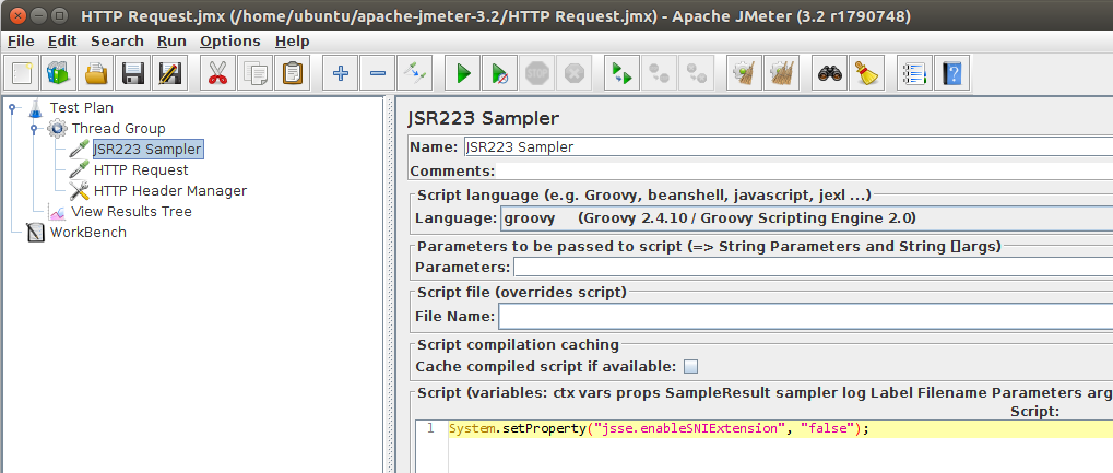 JMeter JSR223 Disable SNI