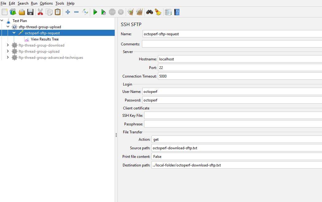 Populated JMeter SSH SFTP Sampler
