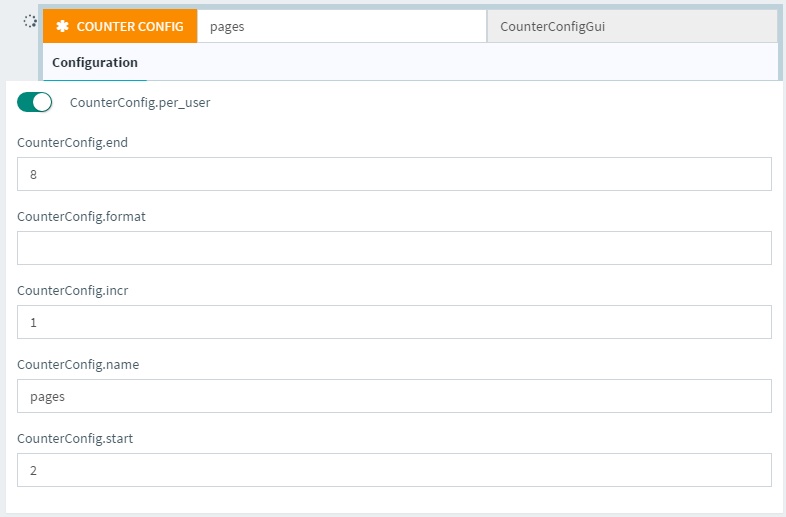 Counter config generic action