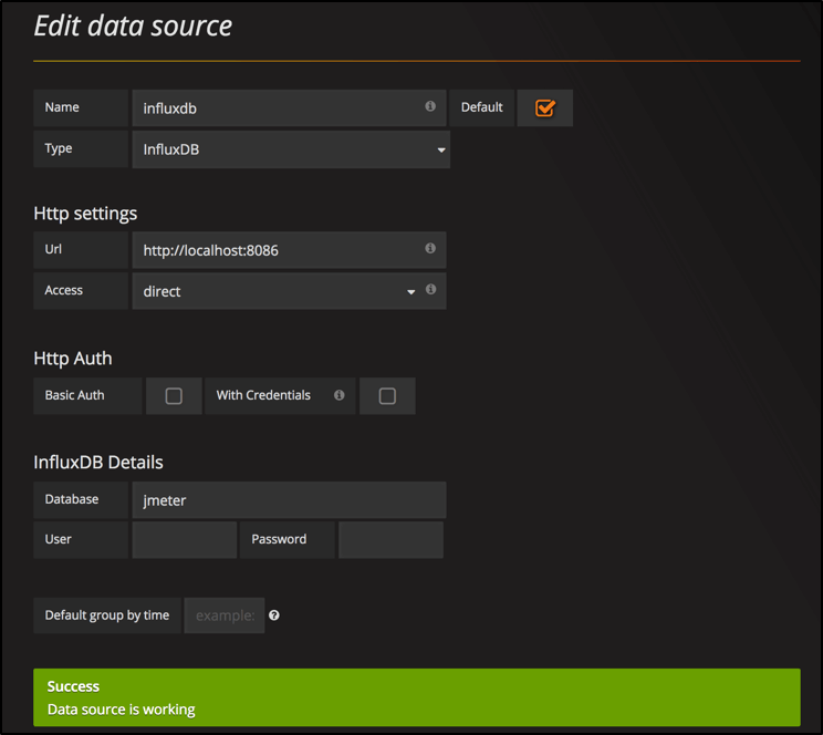 Grafana Configure Datasource