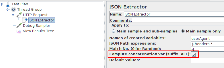 JMeter Json Concatenation Extraction Result