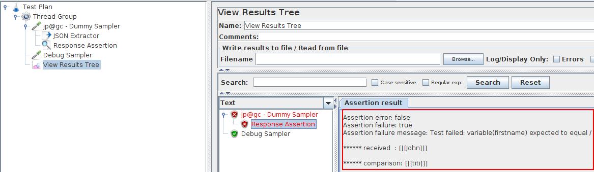 JMeter Response Assertion Success
