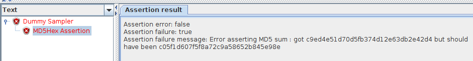 JMeter MD5Hex Assertion Failure