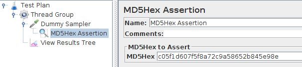 JMeter MD5Hex Assertion