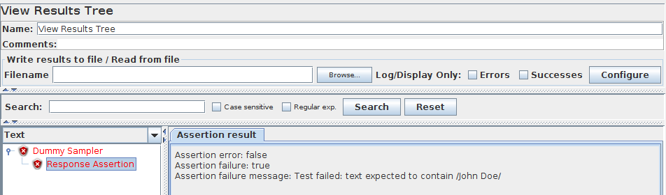 JMeter Response Assertion Failure
