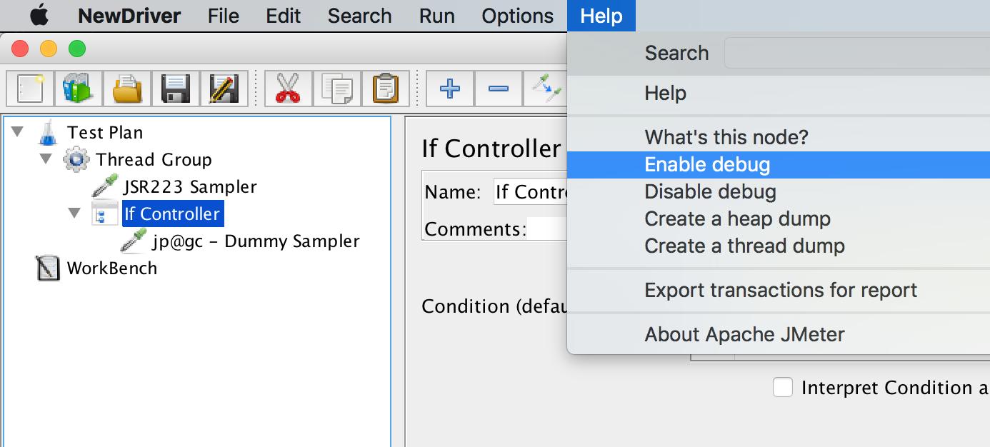 JMeter UI Enable Debug