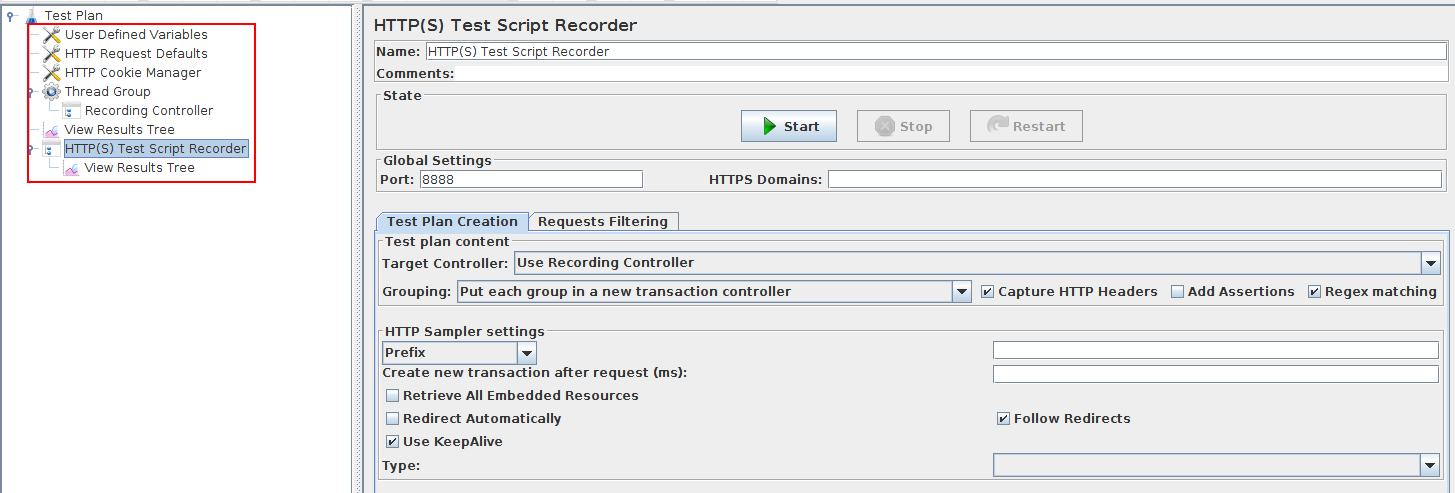 JMeter Recording Test Elements