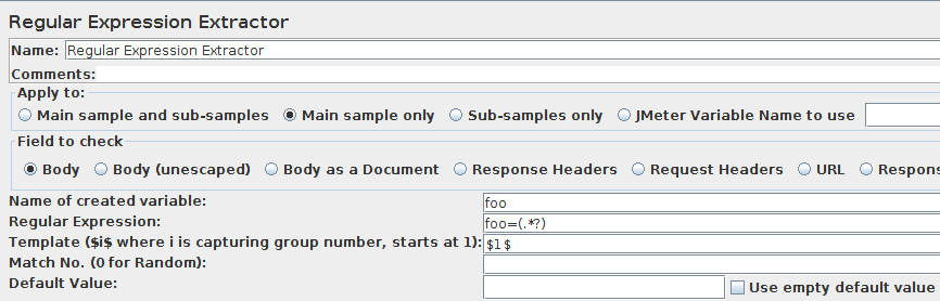 JMeter Regular Expression Extractor