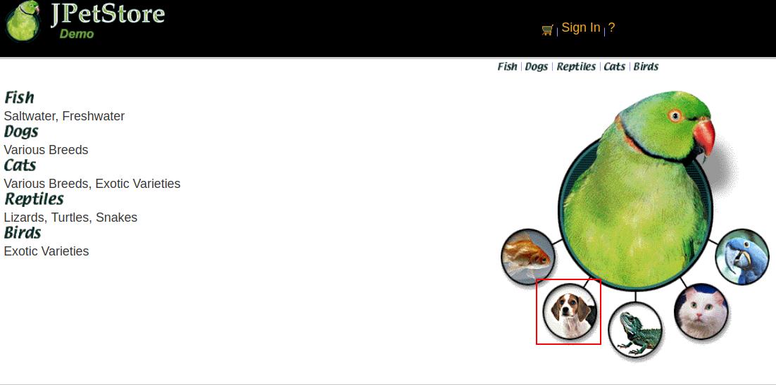 Petstore Homepage