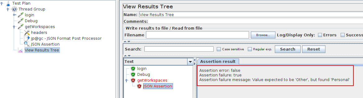 JMeter Json Response Assertion Failure
