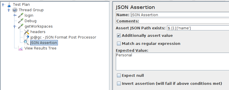 JMeter Json Response Assertion
