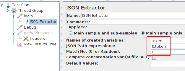 JMeter Json Extractor