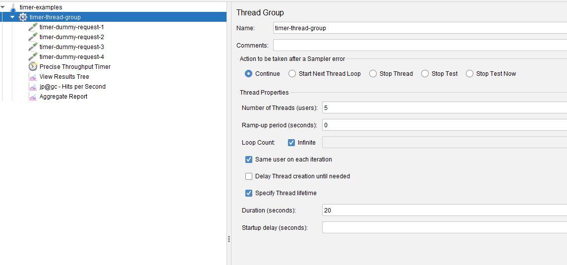 Precise Throughput Timer Thread Group Settings