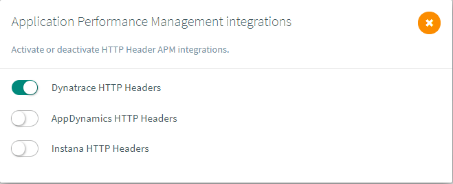 Activate Dynatrace header