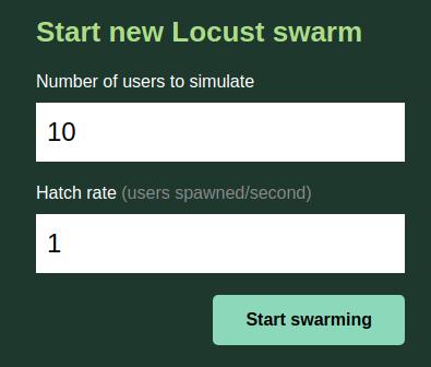 Locust Web UI Swarming