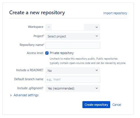 Create repository dialog